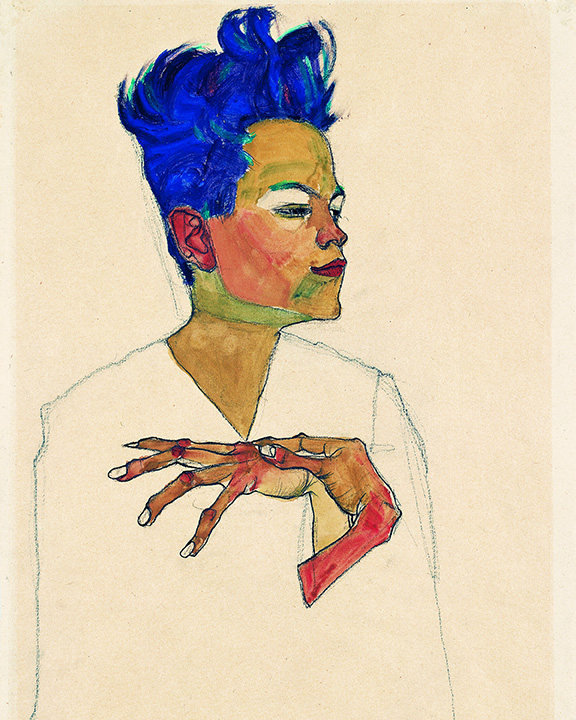 Egon Schiele Self Portrait With Hands on Chest